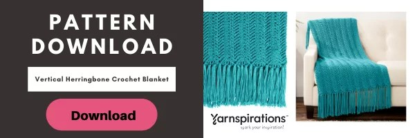 Download the FREE Vertical Herringbone Crochet Blanket Pattern from Yarnspirations