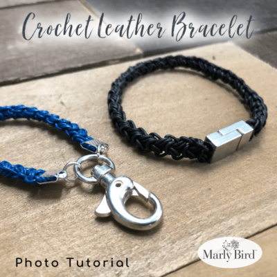 Crochet with Leather | Leather Crochet Bracelet