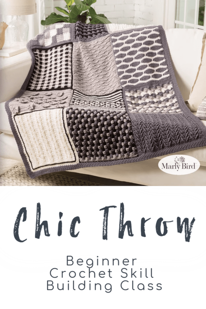 Chic Throw Beginner Crochet Blanket Skill Builder Class
