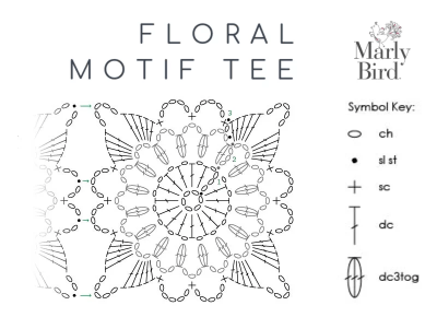 Floral Motif Tee crochet summer sweater diagram for motif -- free pattern by Marly Bird