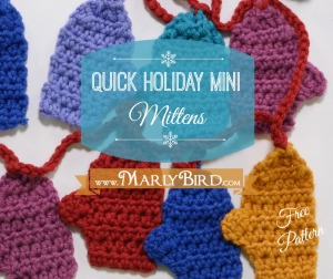 Mini Mitten Garland Free Pattern at www.MarlyBird.com
