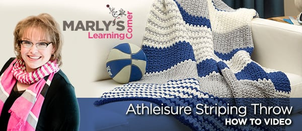 Red Heart FREE Pattern Athleisure Striping Throw