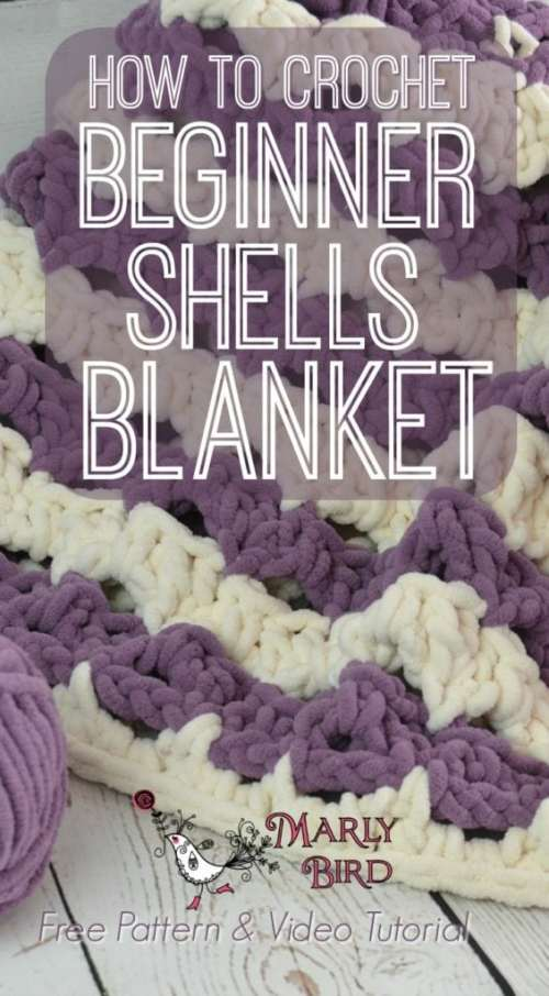 Crochet Beginner Shells Blanket by Marly Bird Free Pattern and Video Tutorial