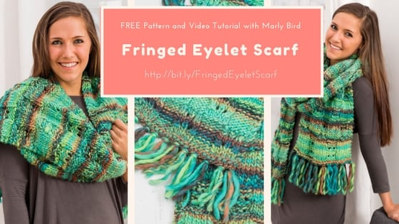 Video Tutorial-How to knit the Fringed Eyelet Scarf-FREE pattern from Red Heart