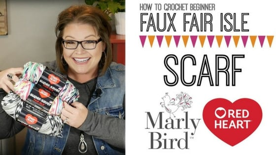 Faux Fair Isle Crochet Scarf Video Tutorial with Marly Bird