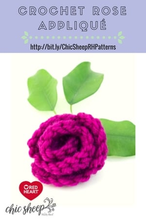 Crochet Rose Applique designed with Chic Sheep by Marly Bird