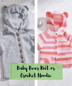 Baby Bear Knit or Crochet Hoodie