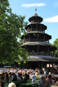 The Chinese tower in the English garden surrounded by Germans
