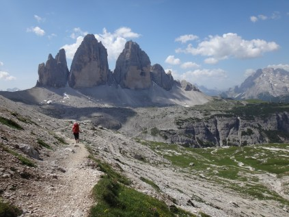 Walking at the foot of the Tre Cime di Lavaredo in the Dolomites