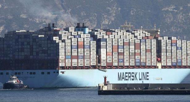 Le géant porte-conteneurs danois «Munich Maersk» traverse le canal de Suez, en direction du Maroc