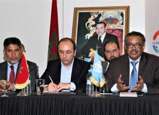 Séance de travail entre M. Doukkali et M. Tedros Adhanom Ghebreysus en présence de Ahmed Salim Saif Al-Mandhari-KA