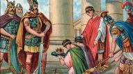 Odoacre (Odovacar, 435-493), chef des Herules, oblige l'abdication de Romulus Augustule, en latin Flavius Romulus Augustus (ou Romulus Augustulus (en it. Romolo Augustolo), vers 460 - 511), dernier empereur romain d'occident en 476. Chromolithographie vers 1890. ©Lee/leemage