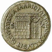 Temple de Yenos frappé sur pièce romaine.