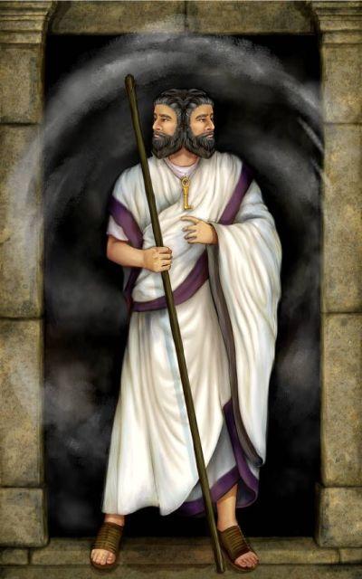 Yenos ouvrant les portes de son temple.