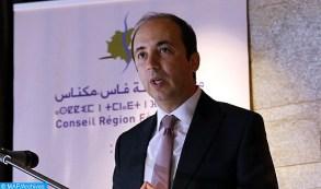 Intervention, vendredi (07/07/17) à Ifrane, du directeur général de l'Agence Nationale de Promotion de l'Emploi et des Compétences (ANAPEC), Anas Doukali, lors des assises régionales de l'emploi. M. Doukali annonce l'ouverture prochaine de plusieurs agences de l'ANAPEC au niveau de la région Fès-Meknès.