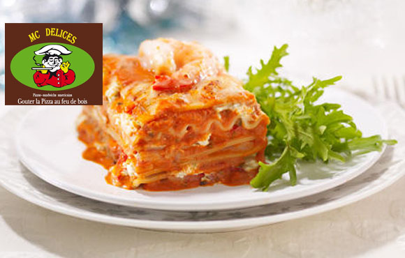 Entrée, Lasagne ou Pizza et Dessert, Formule Repas MC Délices à seulement 39dhs au lieu de 91!