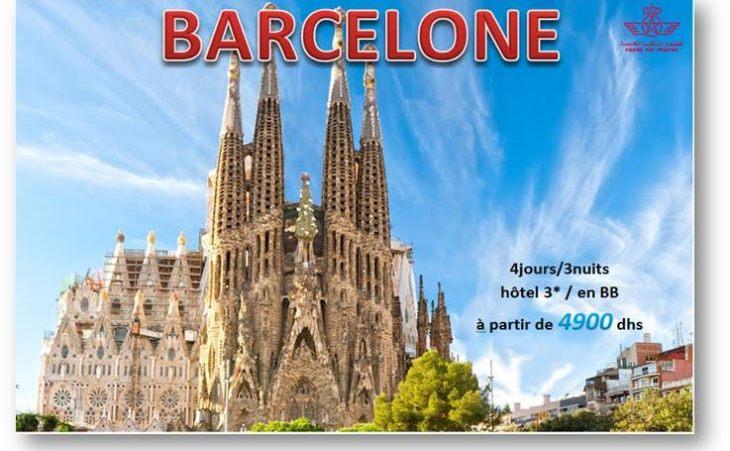 Escapade a  Barcelone à partir de 4900 dhs !