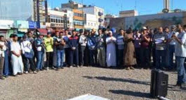 وقفة احتجاجية  بانزكان قرابة منزل رئيس الحكومة