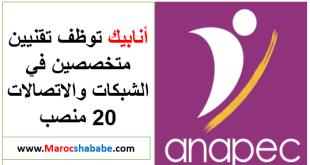 Anapec recrute Techniciens Télécoms 20 Postes Salaire 5000 Dhs