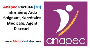 Anapec Recrute (30) Infirmière; Aide Soignant, Secrétaire Médicale, Agent D'accueil