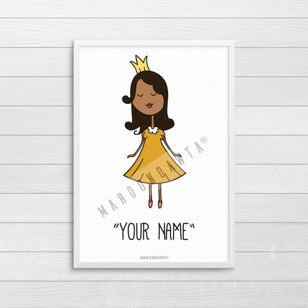 princess-tajah-your-name-white-board-white-frame