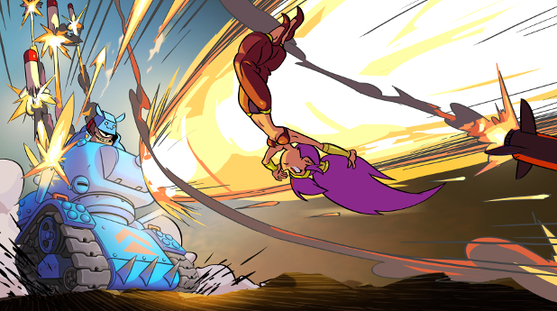 Shantae battles the Ammo Baron, the game's first boss.