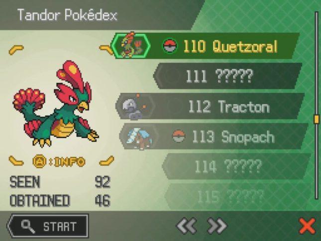Pokemon Uranium Pokedex