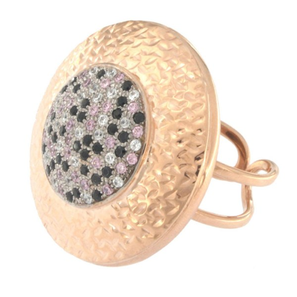 Ring in rose gold with zircons