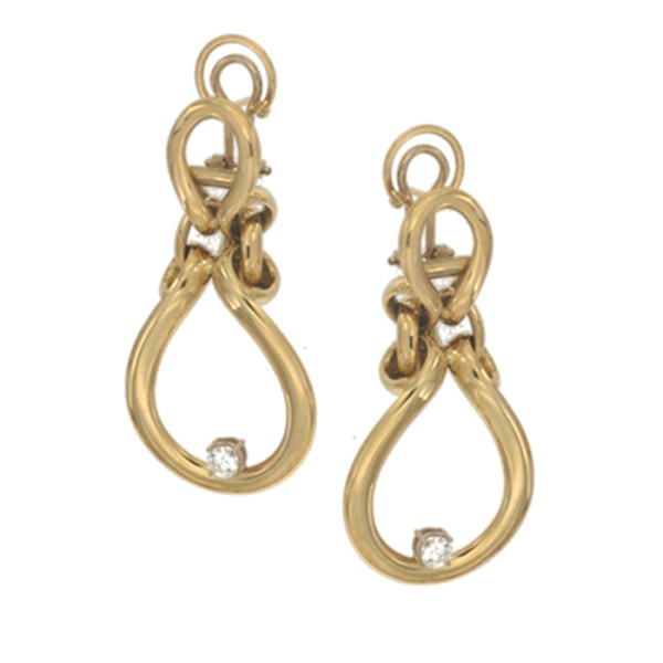 Drop earrings in yellow gold with white zircons