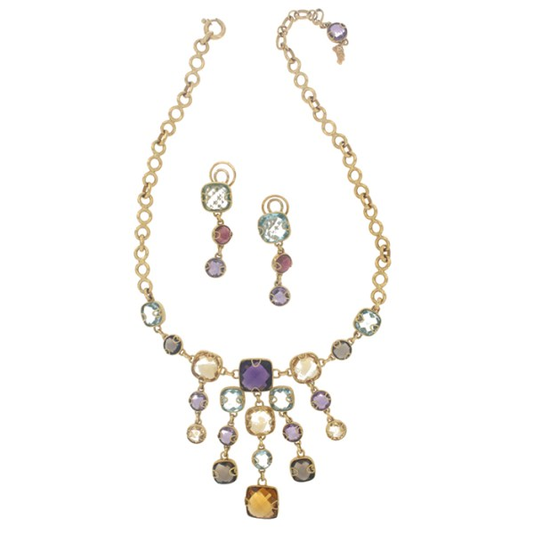 Necklace and drop earrings in yellow gold with stones