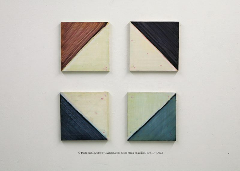 "© Paula Barr, Newton #1, Acrylic, dyes mixed media on canvas, 10""x10"" (O.D.)"