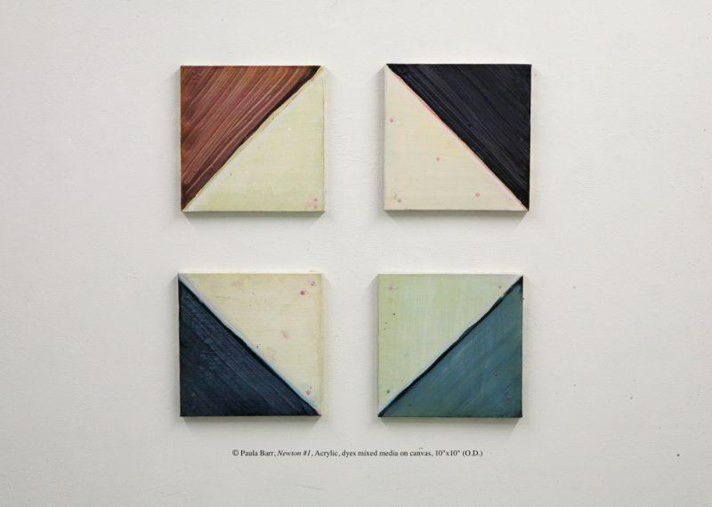 "© Paula Barr, Newton #1, Acrylic, dyes mixed media on canvas, 10""x10"" (O.D.)"