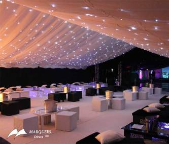 Interior marquee starlight swag roof