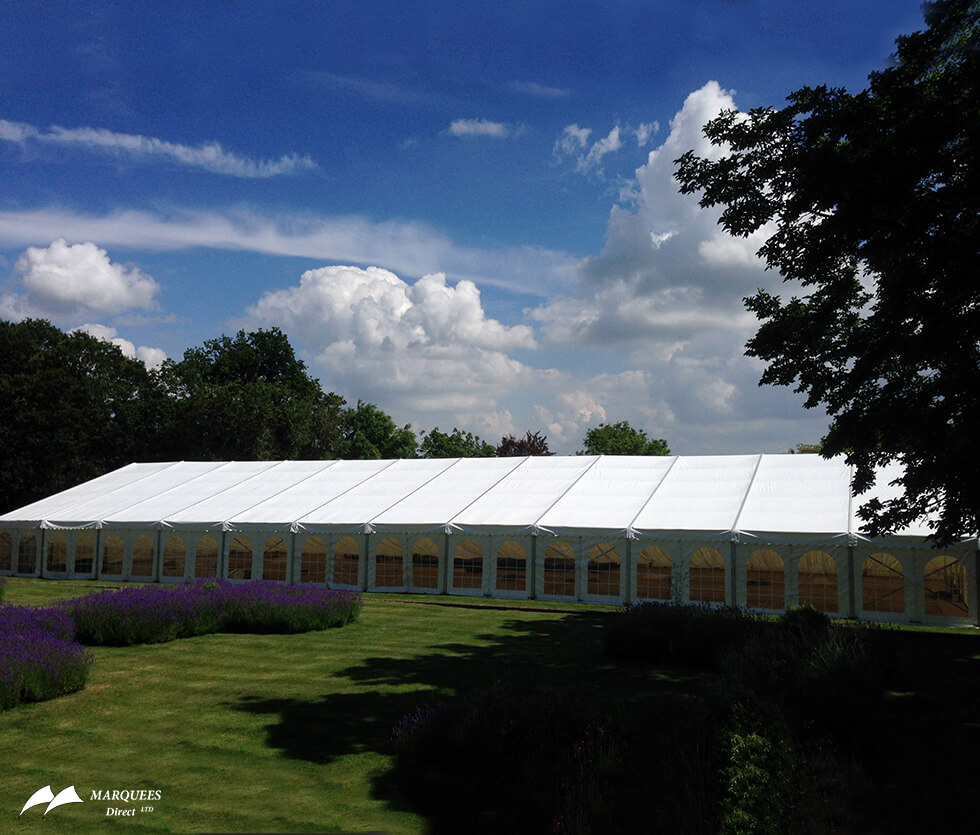 External view of a luxury marquee prepared for Royal Ascot races
