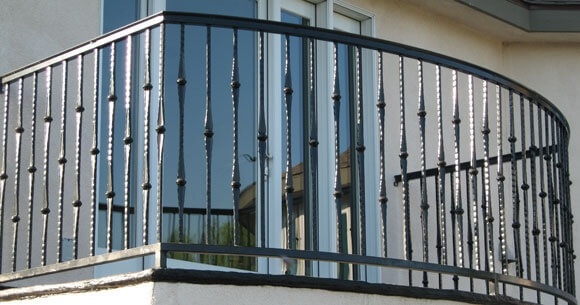 Balcony Stair Railings Decorative Wrought Iron Orange County | Decorative Handrails For Stairs | Brushed Nickel | Popular | Corner Interior Stair | Exterior Irregular Stair | Iron Staircase