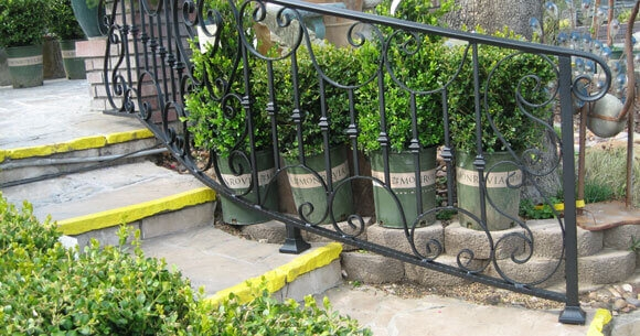 Staircase Railings Decorative Wrought Iron Orange County Ca | Decorative Handrails For Stairs | Brushed Nickel | Popular | Corner Interior Stair | Exterior Irregular Stair | Iron Staircase