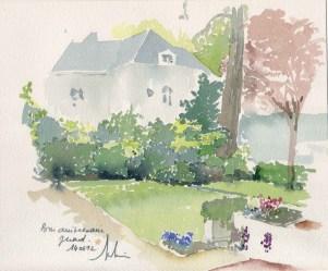 1992 - Aquarelle Grande Maison Par Gilles Thin_wp