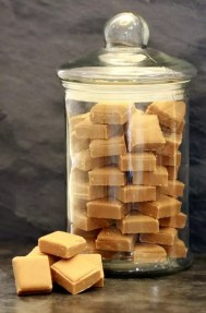 JAR WITH FUDGE PIECES