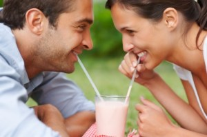 Happy Couple Smiling Milkshake