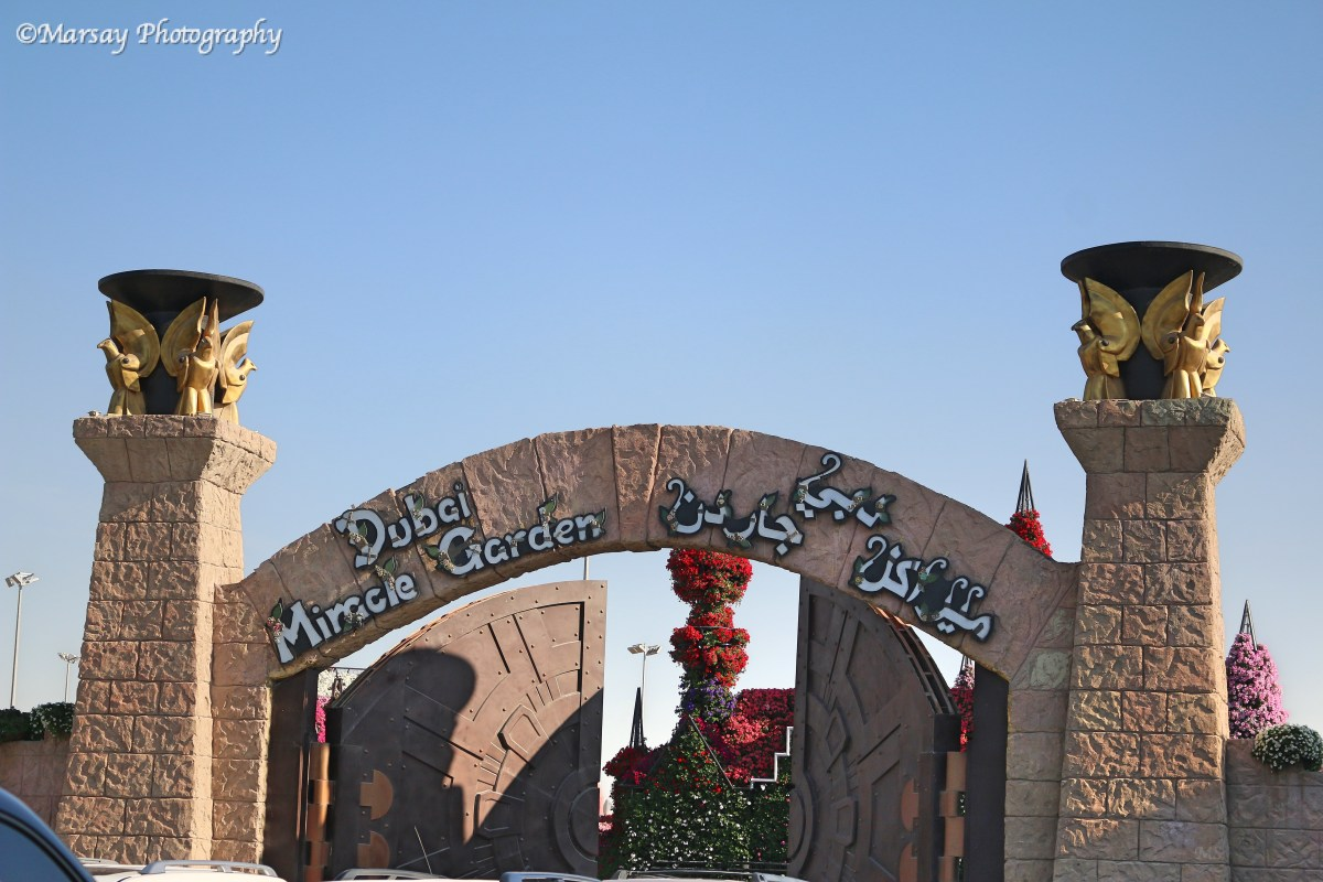 What Awaits behind those majestic Doors?? Entrance at the Dubai Miracle Garden.