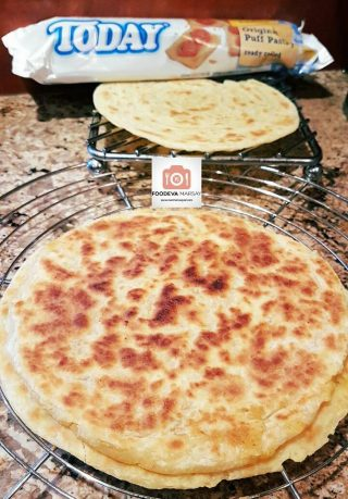 PASTRY Paratha up front and a regular Pastry roti, made with ready rolled pastry.