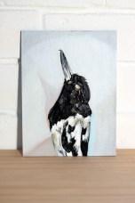 Emma Lindsay Pied butcherbird, 2013 oil on linen & dibond panel 20 x 15cm SOLD