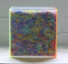 Mark Titmarsh: Looking through a piece of Plastic, 2014. Acrylic glass, plastic string, 20 x 20 x 20cm