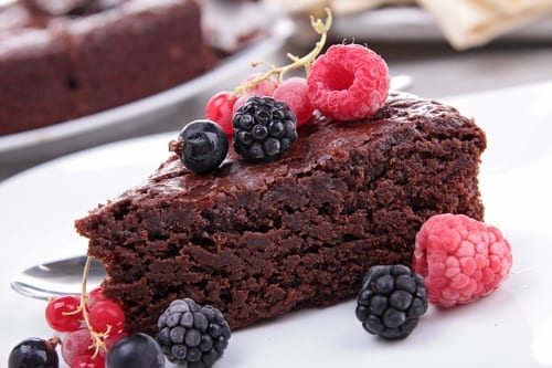 chocolate pie and berries