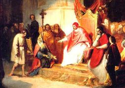 Enrico and the Pope at Canossa - WikiCommons