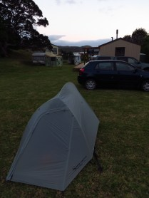Camping on Jan and Mike's lawn.