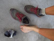That's what a month worth of hiking will do to shoes, socks and feet.