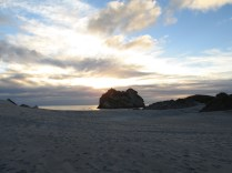Sunset at Warariki Beach, near Cape Farewell.