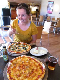 Spoiling ourselves wine pizza, beer(me), and cheesecake(her).