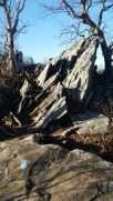 The trail meanders through this rugged and angular rock formation.